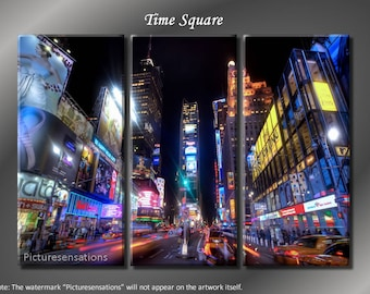Framed Huge 3 Panel Cityscape NYC Manhattan Time Square Giclee Canvas Print  - Ready to Hang