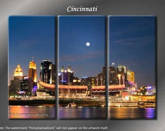 Framed Huge 3 Panel Canvas Art City Skyline Cincinnati Giclee Canvas Print  - Ready to Hang