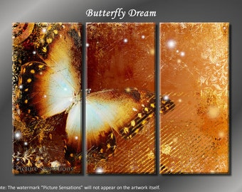 Framed Huge 3 Panel Modern Fantasy Butterfly Dream Giclee Canvas Print - Ready to Hang