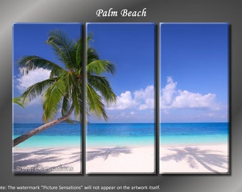 Framed Huge 3 Panel Modern White Sand Palm Beach Giclee Canvas Print - Ready to Hang