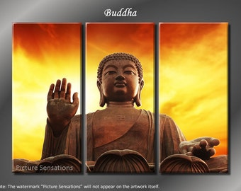 Framed Huge 3 Panel Modern Spiritual Art Buddha Giclee Canvas Print - Ready to Hang