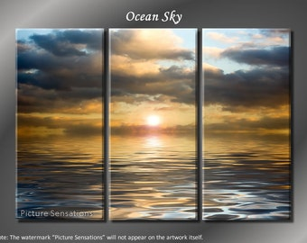 Framed Huge 3 Panel Modern Art Horizon Ocean Sky Giclee Canvas Print - Ready to Hang