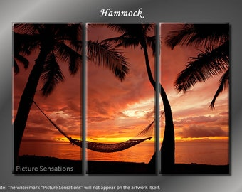 Framed Huge 3 Panel Modern Ocean Palm Sunset Hammock Giclee Canvas Print - Ready to Hang