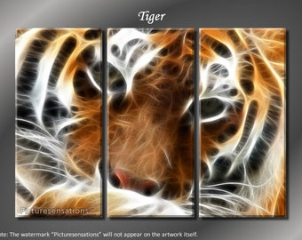 Framed Huge 3 Panel Modern Abstract Fractal Tiger Giclee Canvas Print - Ready to Hang