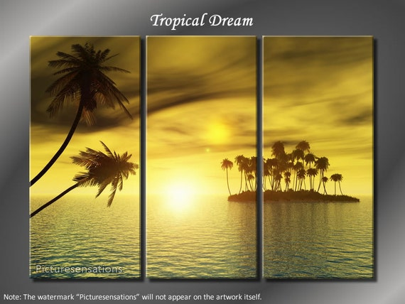 Framed Huge 3 Panel Tropical Palm Tree Sunset Poise Giclee Canvas Print - Ready to Hang