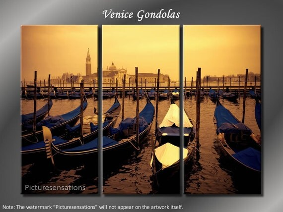 Framed Huge 3 Panel Cityscape Italy Venice Gondolas Giclee Canvas Print - Ready to Hang