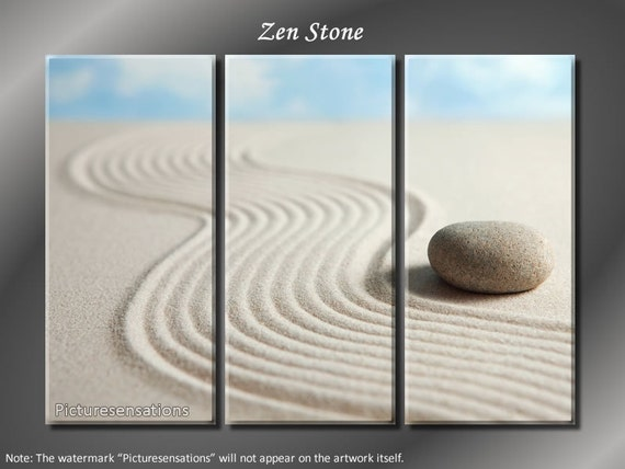 Framed Huge 3 Panel Peaceful Zen Stone Giclee Canvas Print - Ready to Hang
