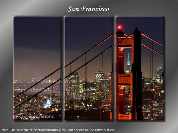 Framed Huge 3 Panel San Francisco Golden Gate Bridge Giclee Canvas Print - Ready to Hang