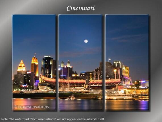 Framed Huge 3 Panel Canvas Art City Skyline Cincinnati Giclee