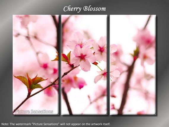 Framed Huge 3 Panel Cherry Blossom Sakura Giclee Canvas Print - Ready to Hang