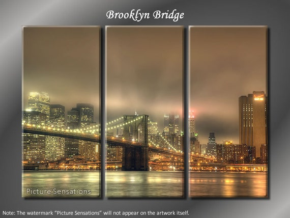Framed Huge 3 Panel New York Skyline Brooklyn Bridge Giclee Canvas Print - Ready to Hang