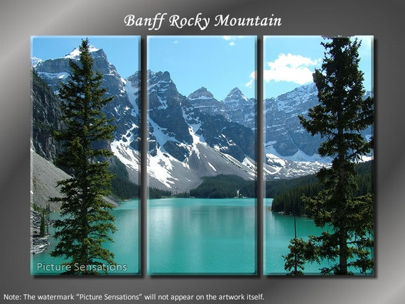 Framed Huge 3 Panel Modern Canada Banff Rocky Mountain Giclee Canvas Print - Ready to Hang