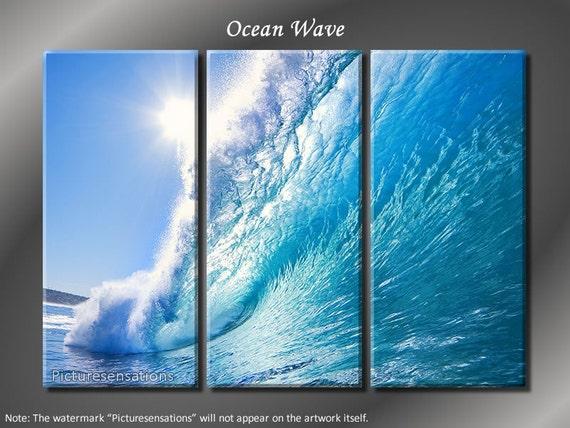 Framed Huge 3 Panel Modern Nature Art Ocean Wave Giclee Canvas Print - Ready to Hang