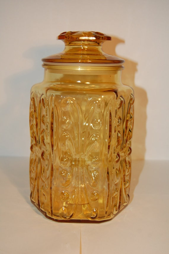 Large Yellow Glass Jar