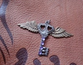Silver Heart Key with Wings and purple stones OOAK