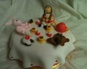 Tea Party Fondant Cake Topper, teddy bear, little girl doll, bunny rabbit