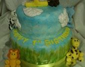 Jungle Safari themed Fondant Cake Topper or Cupcake Topper Set