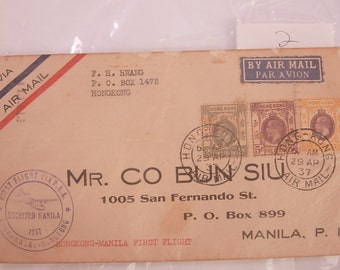 Vintage WWII 1st Day Cover Postal History Hong Kong Stamp 1937