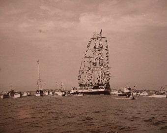 8x9 Photo of the Gasparilla Pirate Ship Invasion of Tampa