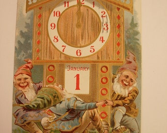 Vintage victorian gnome elf new year whimsical postcard