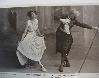 Vintage Victorian RPPC Real Photo of Miss Gabrielle Ray  and Mr. Willie Warde in The Lady Dandies 1907