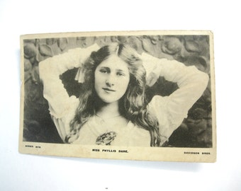 Victorian RPPC Real Photo Postcard of Miss Phyllis Dare English Actress Davidson Series Glossy 1906