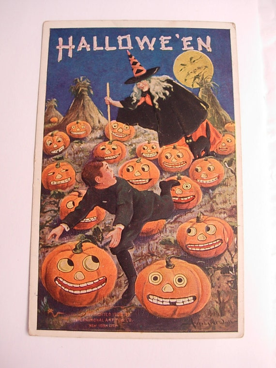 Antique  1908 Halloween Victorian Witch stabbing horrified  Pumpkins with evil Moon embossed postcard