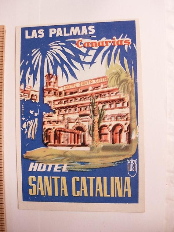 Vintage Hotel Santa Catalina Las Palmas Canarias Travel  Luggage Tag or Label