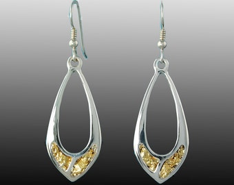 Style 231L Silver Earrings with 22Kt Natural Gold Inlay