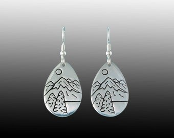 Mountain Lake Earrings in Sterling Silver
