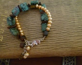 Lucile Bracelet - Green Dalmation Jasper, Tiger's Eye, Natural Seed, Pearl and Vintage Beads with Elephant Clasp