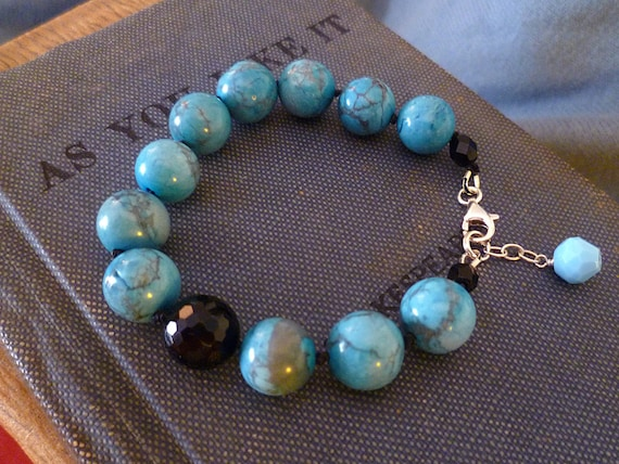 Janette Bracelet, Handmade - Natural Turquoise and Reclaimed Vintage Glass Beads