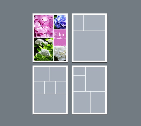 INSTANT DOWNLOAD - Storyboard Template, Photo Collage Template - 5 x 7 - Template Pack - No.1