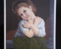 GIRL IN GREEN a beautiful completed fine stitch picture