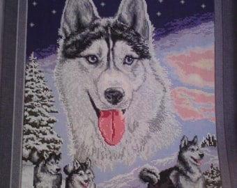 SNOW HUSKY and FRIENDS a beautiful completed hand made fine stitch picture