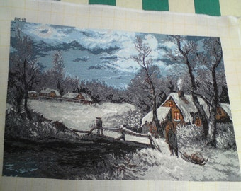 SNOW SCENE a beautiful completed fine stitch picture