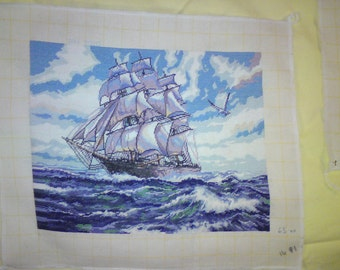 HIGHSEAS a beautiful completed hand made fine stitch picture