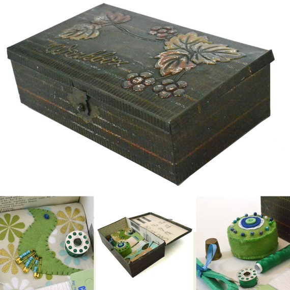Vintage Sewing Kit / Tin with Handmade Pincushion and Needle Case