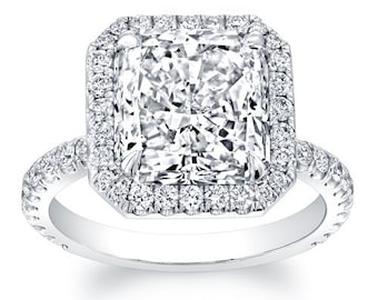 Women's 18kt white gold diamond halo engagement ring with 2ct Princess Cut White Sapphire and 0.60 ctw G-VS2 diamonds