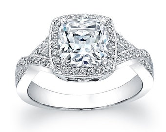 Ladies platinum cushion top diamond halo pave engagement ring with a natural 2ct Cushion shape white sapphire and 0.40 ctw G-VS2 diamonds
