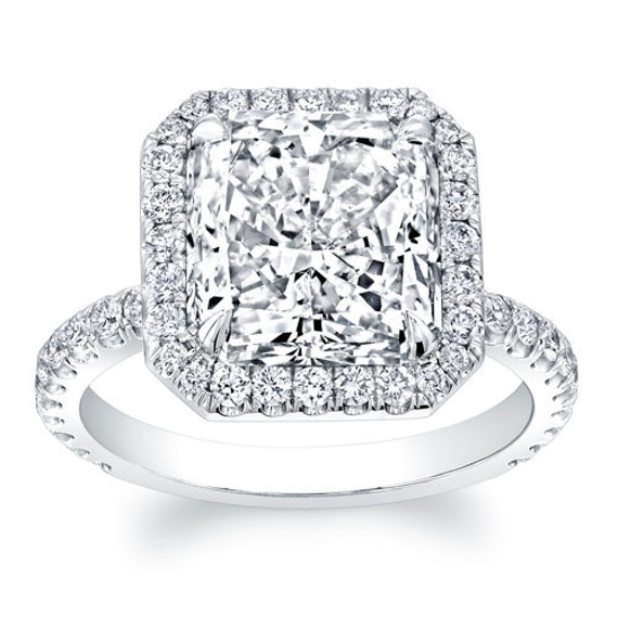 14kt white gold diamond halo engagement ring with 2ct Princess Cut White Sapphire and 0.60 ctw G-VS2 diamonds