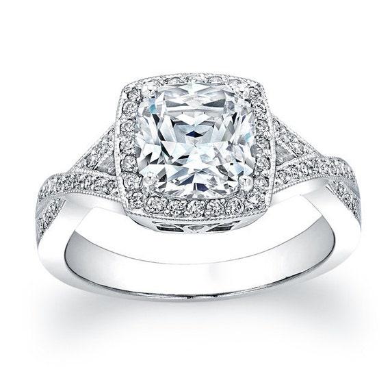 Ladies 14kt white gold antique micro pave engagement ring with 2ct Cushion center and 0.40 carats G-VS2 diamonds