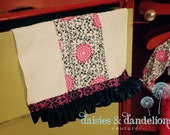 Burp Cloth with black and white swirls and large pink flowers