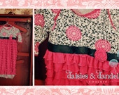 Hot Pink Ruffle baby gown.   Add our black, white, and pink print bodice.   Beautiful