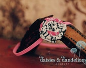 Black, white and pink fabric rose on a skinny elastic headband