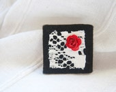 """Square black felt brooch with vintage lace and red rose detail, """"Snow White"""""""