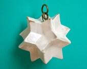 SALE. Little white star ornament + Cobalt blue star. Stoneware hangings.
