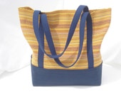 Navy and Yellow Color Blocked Woven Cotton Multi-Purpose Tote Bag