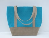 Color Blocked Turquoise and Khaki Ribbed Cotton Canvas Multi-Purpose Tote Bag