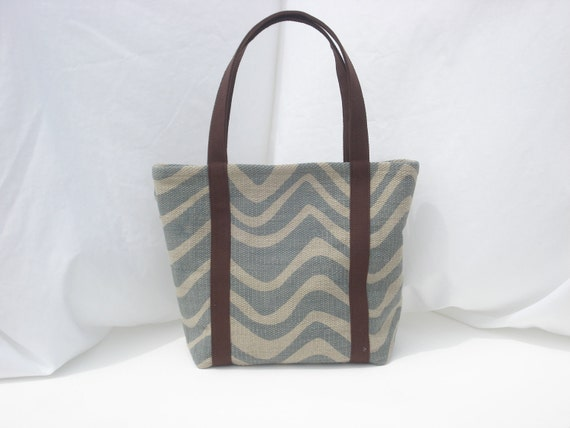 Pale Blue and Ivory Zebra Striped Heavy Woven Cotton Canvas Multi-Purpose Tote Bag